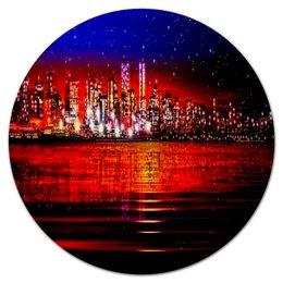 """Коврик для мышки (круглый) """"Город"""" - город, здания, мегаполис, краски, вода"""