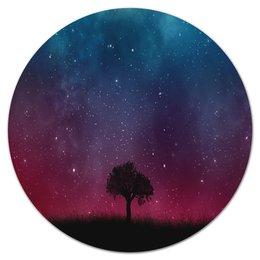 """Коврик для мышки (круглый) """"Звездное небо"""" - звезды, небо, природа, пейзаж, дерево"""