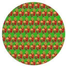 """Коврик для мышки (круглый) """"Фастфуд"""" - еда, макдональдс, фастфуд, бургер, картошка фри"""