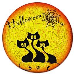 """Коврик для мышки (круглый) """"Хэллоуин"""" - кошка, хэллоуин, черный, котята, паутина"""