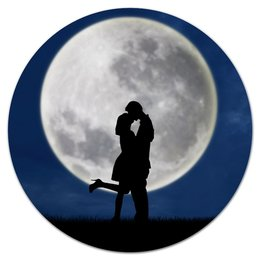 """Коврик для мышки (круглый) """"Влюбленные"""" - любовь, ночь, луна, поцелуй, влюбленные"""