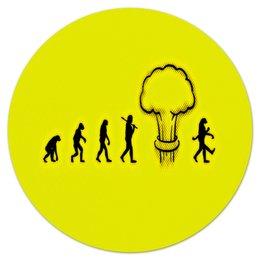 """Коврик для мышки (круглый) """"Эволюция"""" - рисунок, желтый, люди, эволюция, обезьяны"""
