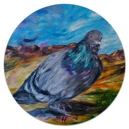 """Коврик для мышки (круглый) """"Голубь"""" - птица, город, счастье, city, bird, dove"""