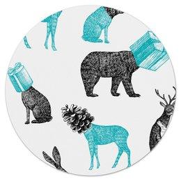 """Коврик для мышки (круглый) """"животные"""" - праздник, новый год, животные, зима, подарки"""