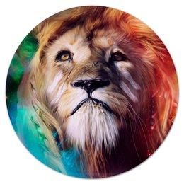"Коврик для мышки (круглый) ""Царь зверей"" - лев, краски, царь зверей, грива"