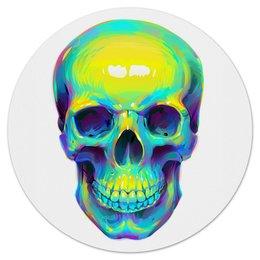 "Коврик для мышки (круглый) ""Colorfull skull"" - skull, череп, поп арт, pop art"