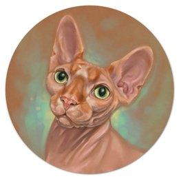 """Коврик для мышки (круглый) """"Круглый Кошка Сфинкс"""" - кот, кошка, арт, авторское, сфинкс"""