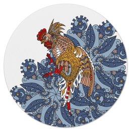 """Коврик для мышки (круглый) """"петушиное разноцветие"""" - узор, птица, символ года, злой, петух"""
