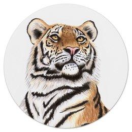 """Коврик для мышки (круглый) """"Взгляд тигра"""" - хищник, животные, взгляд, тигр, зверь"""