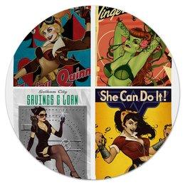 """Коврик для мышки (круглый) """"Девушки из DC """" - art, комиксы, pop art, harley quinn, dc comics"""