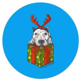 """Коврик для мышки (круглый) """"новый год"""" - новый год, зима, собака, подарок, год собаки"""