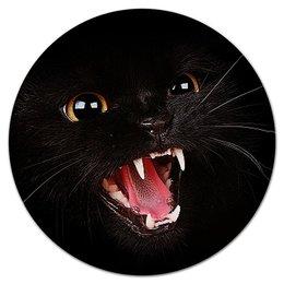 """Коврик для мышки (круглый) """"КОШКИ. МАГИЯ КРАСОТЫ"""" - кошка, глаза, клыки, злая, арт фэнтези"""