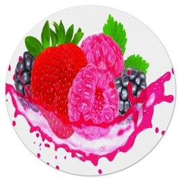 """Коврик для мышки (круглый) """"Ягоды"""" - лето, еда, фрукты, ягоды, клубника"""