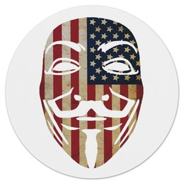 "Коврик для мышки (круглый) ""USA Anonymous"" - vendetta, маска, анонимус, сша, вендетта"