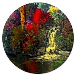 "Коврик для мышки (круглый) ""Водопад"" - пейзаж, природа, водопад, краски, картина"