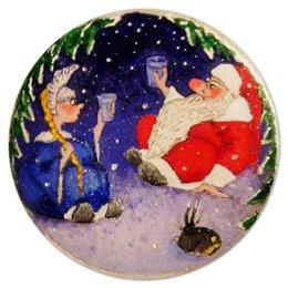 """Коврик для мышки (круглый) """"С Новым Годом!"""" - праздник, новый год, дед мороз, снегурочка, new years"""