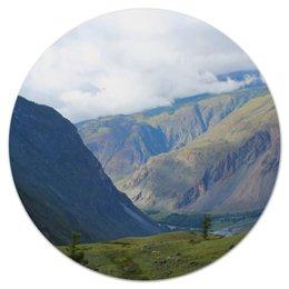 """Коврик для мышки (круглый) """"Горы и облака"""" - лес, облака, природа, горы, поле"""