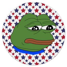 """Коврик для мышки (круглый) """"Pepe Frog"""" - мем, грустная лягушка, sad frog, pepe frog, pepe the frog"""