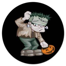 "Коврик для мышки (круглый) ""Чудовище Франкенштейна"" - хэллоуин, зомби, монстр, тыква, франкенштейн"