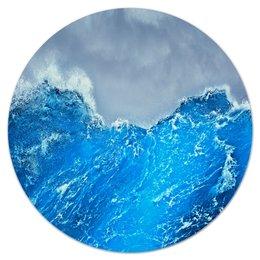"""Коврик для мышки (круглый) """"Морские волны"""" - море, синий, вода, волны, шторм"""