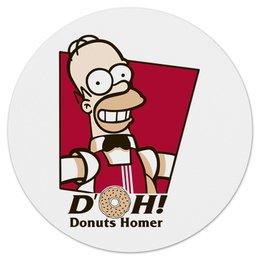 """Коврик для мышки (круглый) """"Donuts Homes"""" - гомер, simpsons, homer, симпсоны, пончик"""