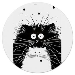 """Коврик для мышки (круглый) """"Кот и Кошка"""" - кот, кошка, рисунок, чёрное и белое"""