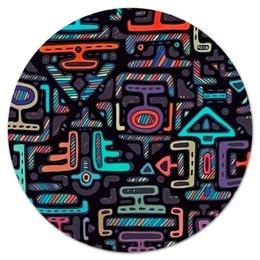 """Коврик для мышки (круглый) """"Символы"""" - символы, знаки, рисунок, узор, орнамент"""