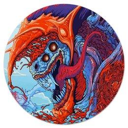 """Коврик для мышки (круглый) """"Зверь"""" - монстр, скоростной зверь, игры, динозавр, чудовище"""
