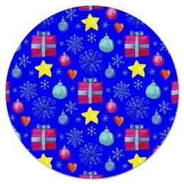 """Коврик для мышки (круглый) """"новый год"""" - новый год, звезды, зима, игрушки, подарки"""