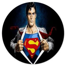 """Коврик для мышки (круглый) """"Супергерой"""" - супергерой, супермен, герой, мульт, мультики"""