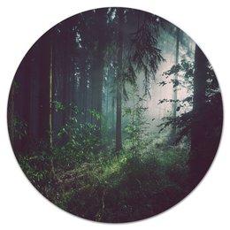 """Коврик для мышки (круглый) """"Природа леса"""" - лес, деревья, природа, пейзаж, трава"""