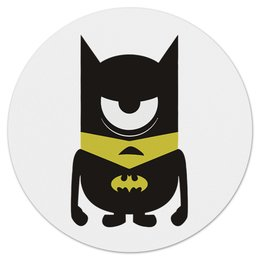 "Коврик для мышки (круглый) ""Minion Batman"" - комиксы, бэтмен, супергерой, миньоны, банана"
