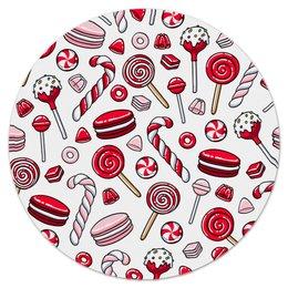 """Коврик для мышки (круглый) """"Леденцы"""" - конфеты, еда, сладости, зефир, леденец"""