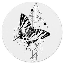 "Коврик для мышки (круглый) ""Круглый Butterfly abstract geometry"" - tattoo, насекомые, минимализм, геометрия, абстракция"