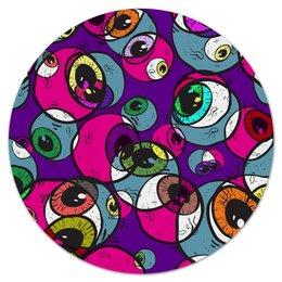 """Коврик для мышки (круглый) """"Глаза"""" - краски, пятна, шары, шарики, круги"""