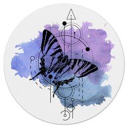 """Коврик для мышки (круглый) """"Круглый Butterfly abstract geometry"""" - геометрия, минимализм, насекомые, tattoo, клякса"""