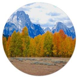 """Коврик для мышки (круглый) """"Деревья в горах"""" - горы, пейзаж, природа, лес, осень"""