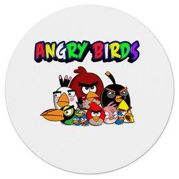"Коврик для мышки (круглый) ""Angry Birds"" - птицы, птички, мульт, angry birds, энгри бёрдз"
