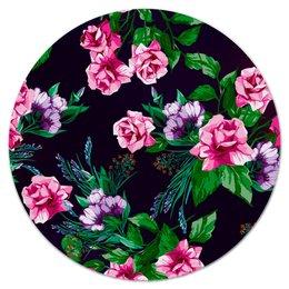 """Коврик для мышки (круглый) """"Розы в цвету"""" - цветы, розы, сад, букет, весна"""