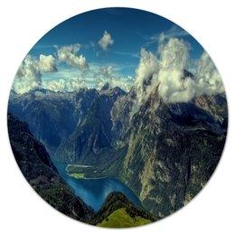 """Коврик для мышки (круглый) """"Природа"""" - природа, пейзаж, горы, река, лес"""