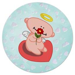 """Коврик для мышки (круглый) """"Влюбленный ангелок с сердцем"""" - сердце, любовь, цветок, ангел"""