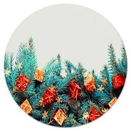 """Коврик для мышки (круглый) """"Игрушки на елке"""" - праздник, новый год, игрушки, подарки, елка"""