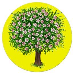 """Коврик для мышки (круглый) """"Цветочное дерево."""" - цветы, растение, настроение, весна, дерево"""