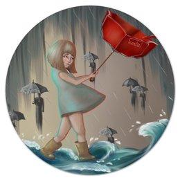"""Коврик для мышки (круглый) """"под дождем"""" - арт, дождь, rain, umbrella, зонтик"""