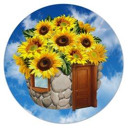 """Коврик для мышки (круглый) """"Подсолнух"""" - подсолнух, цветы, природа"""