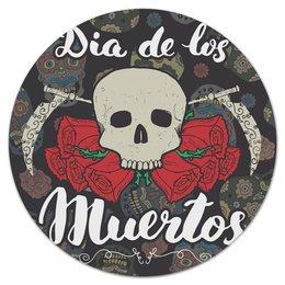 """Коврик для мышки (круглый) """"Día de Muertos"""" - череп, праздник, цветы, розы, день мертвых"""