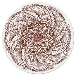 """Коврик для мышки (круглый) """"Цветок в стиле росписи хной"""" - цветы, этнический, индийский, мехенди"""