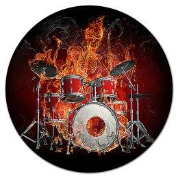 """Коврик для мышки (круглый) """"МУЗЫКА ФЭНТЕЗИ"""" - стиль, скелет, огонь, барабаны, арт фэнтези"""