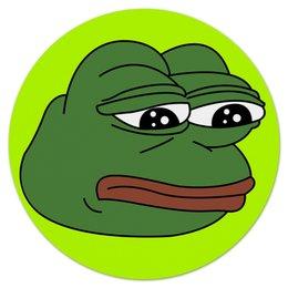 """Коврик для мышки (круглый) """"Грустная лягушка"""" - мем, meme, грустная лягушка, sad frog, pepe frog"""