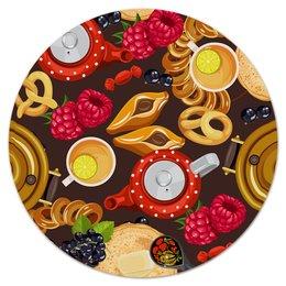 """Коврик для мышки (круглый) """"Чаепитие"""" - русский, чай, стол, пир, баранки"""